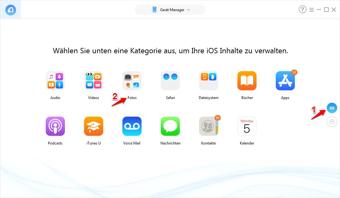 Fotos von iPhone auf Laptop mit AnyTrans – Schritt 1