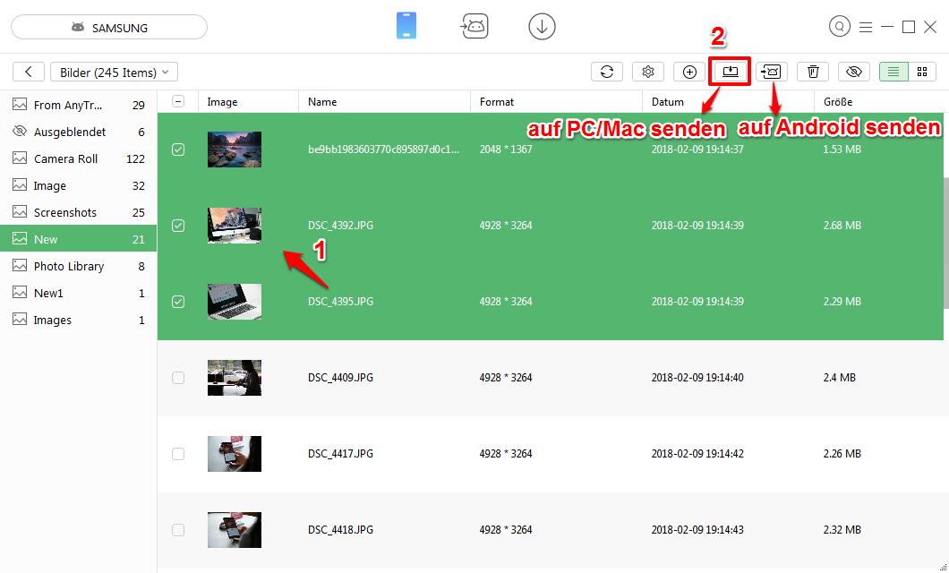 Teilweise Fotos von Samsung auf PC senden – Schritt 2