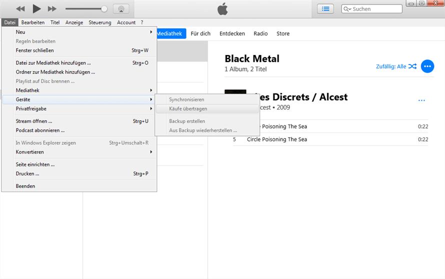 Gekaufe Musik übertragen mit iTunes