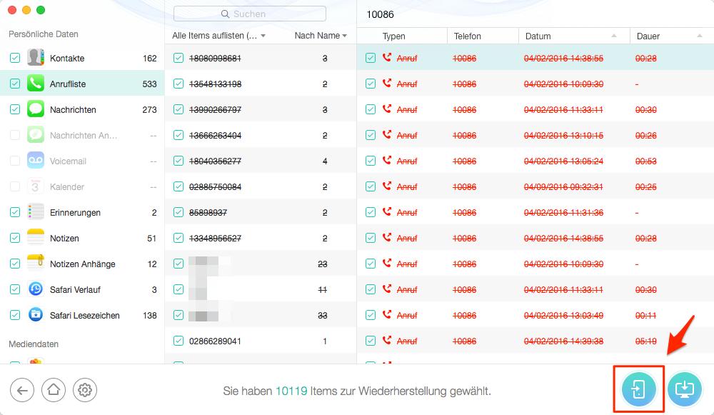 Gelöschte Anrufliste vom iPhone 6s/6 wiederherstellen – Schritt 3