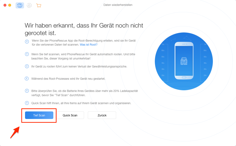 Tief Scan auswählen und Samsung rooten – Schritt 2