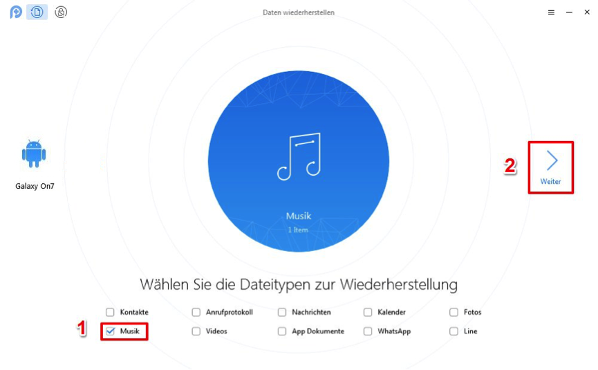 In dem Fenster Musik auswählen – Schritt 3