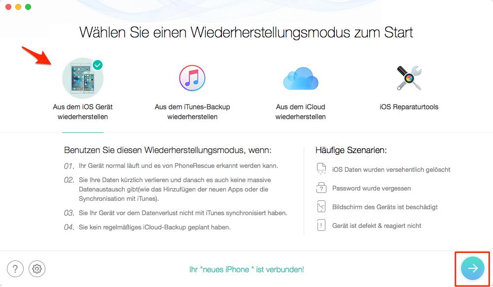iPhone 7 Nachrichten wiederherstellen - Schritt 1