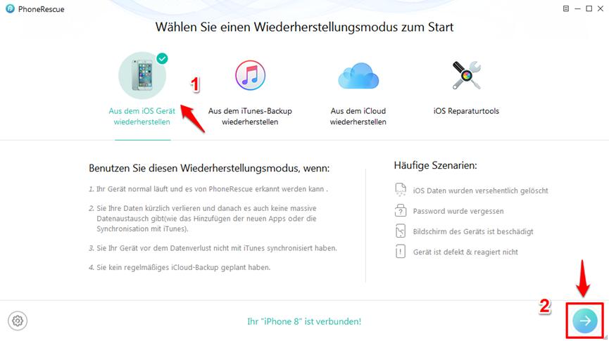gelöschte SMS wiederherstellen iPhone X/8 – Schritt 1