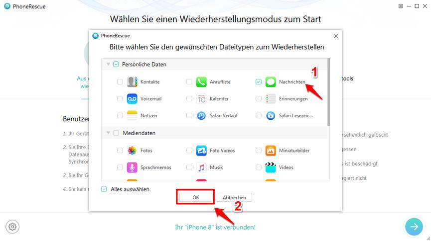 Teil 2. Abrufen gelöschter Nachrichten vom iPhone mit der vorherigen iTunes-Sicherung