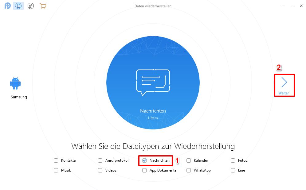 Gelöschte SMS wiederherstellen Android ohne PC - Schritt 2