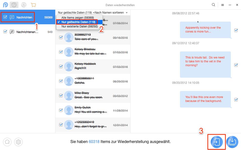 Richtig! Gelöschte SMS von Samsung wiederherstellen – Schritt 4