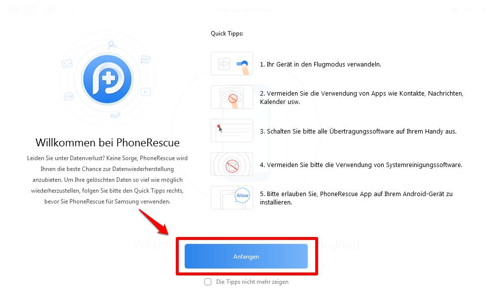 PhoneRescue starten und Samsung mit Computer verbinden – Schritt 1