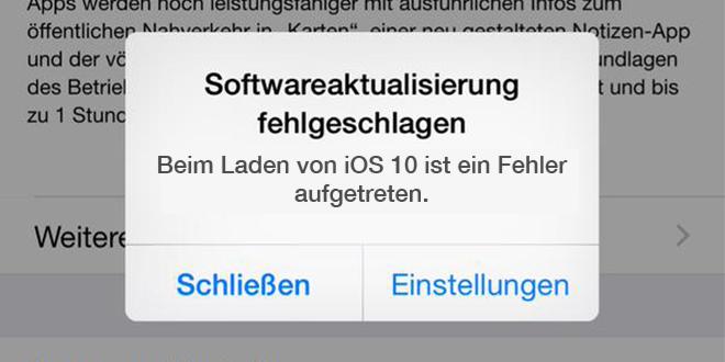 iOS 10/10.3.2/10.4 Probleme: Softwareaktualisierung fehlgeschlagen