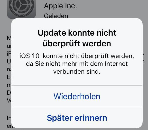 iOS 10 Probleme: Update konnte nicht überprüft werden