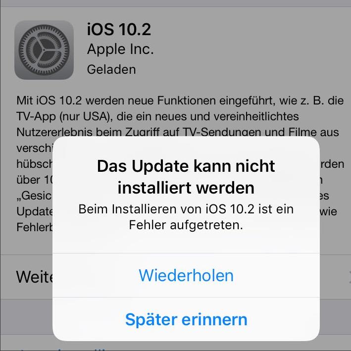 iOS 10 Probleme: iOS 10.2 kann nicht installiert werden