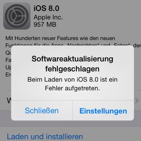 Problem von iOS 8 – Fehler vom Download