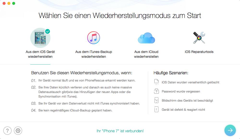 verlorene Daten nach dem Update auf iOS 8 mit PhoneRescue gewinnen