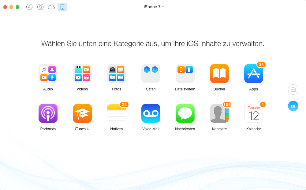 iOS-Dateien mit AnyTrans optional sichern
