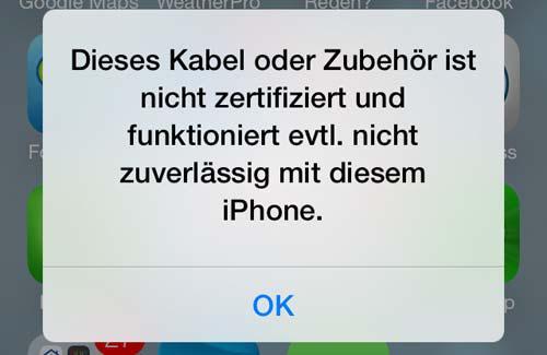 Problem von iOS 8 – Kabel oder Zubehör funktioniert nicht
