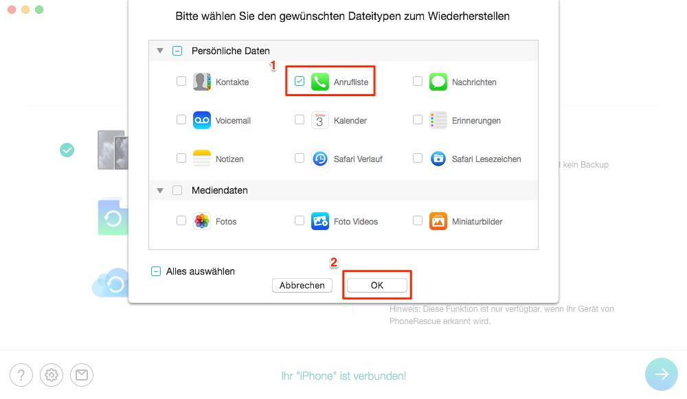 Gelöschte Anrufliste wiederherstellen iPhone – Anrufliste auswählen – Schritt 3