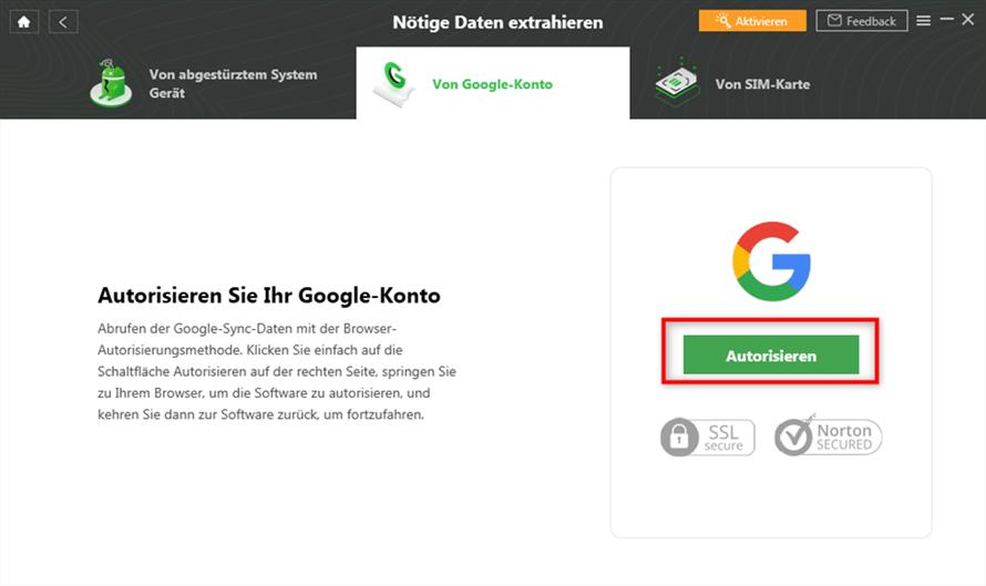 Google Konto autorisieren