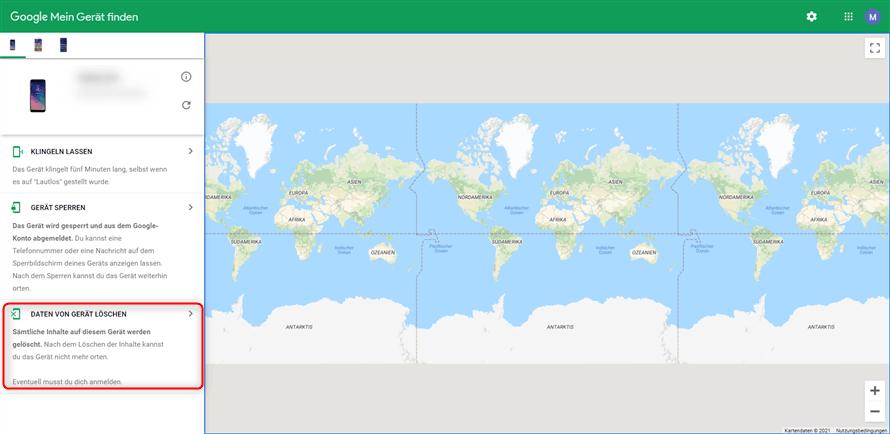 Google Konto Daten des Geräts löschen