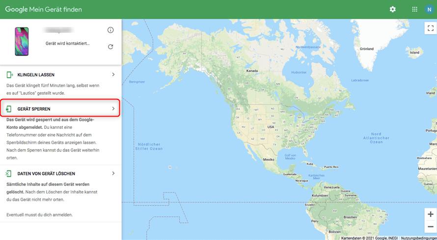 Google Konto - Gerät sperren