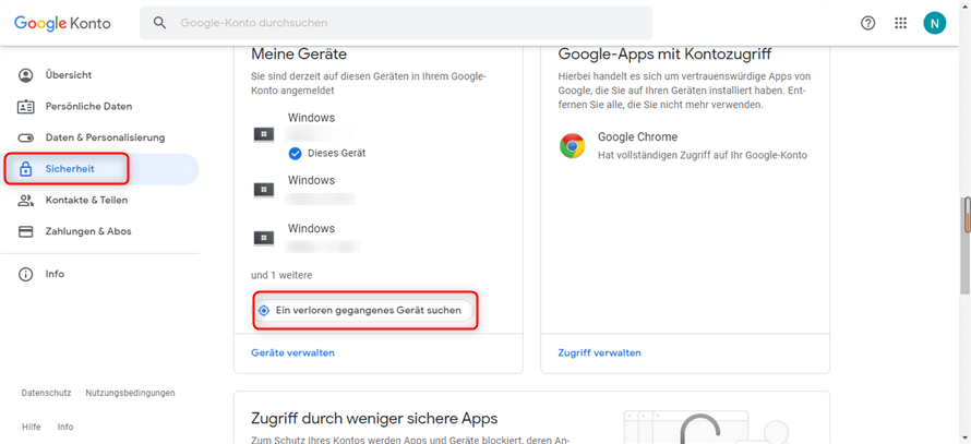 Google Konto meine Geräte