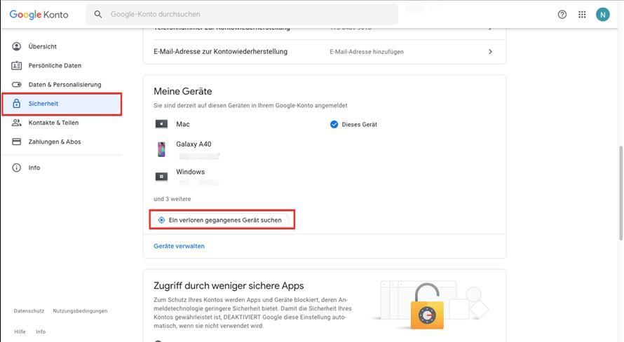 Google konto Sicherheit
