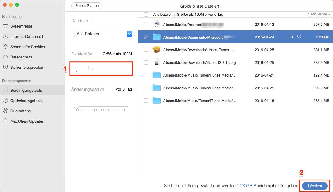 Schnell! Große Dateien/Ordner vom Mac finden und löschen - Schritt 3