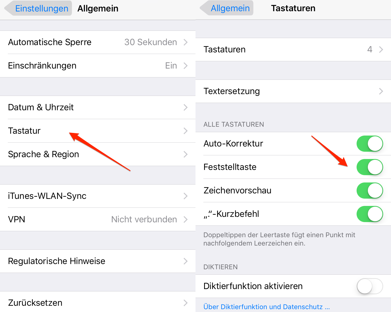 Problem über Großschreiben der Tastatur unter iOS 11 beheben