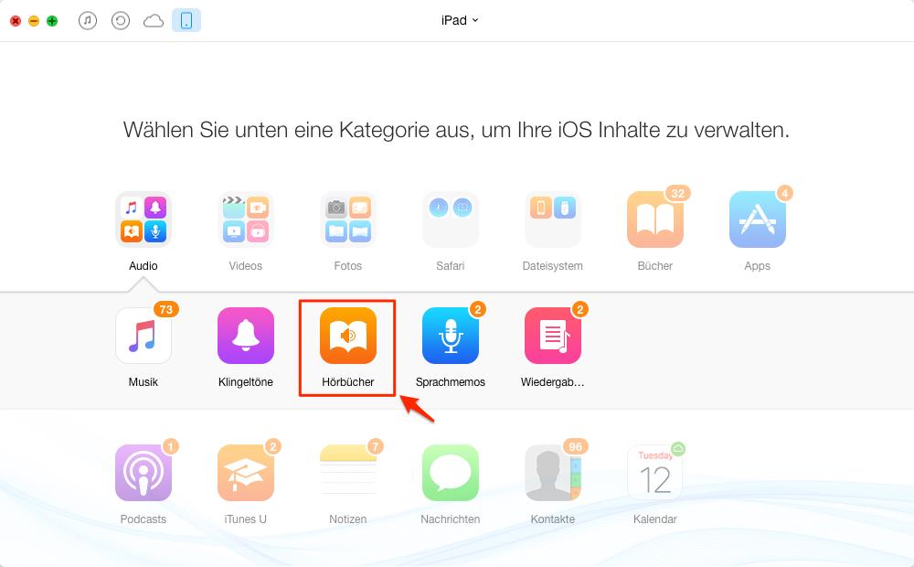 Hörbücher auf iPad mit AnyTrans übertragen – Schritt 2