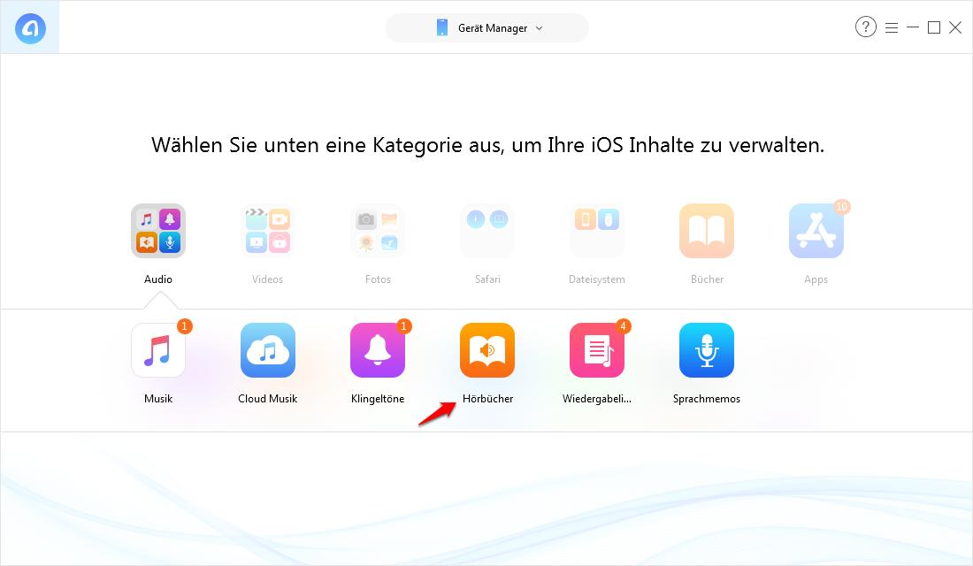 Schnell! Hörbuch vom Computer auf iPhone übertragen – Schritt 3