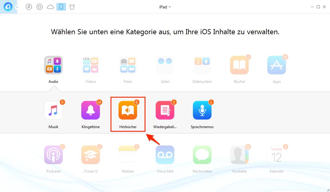 Hörbuch vom iPad auf Computer übertragen – Schritt 1