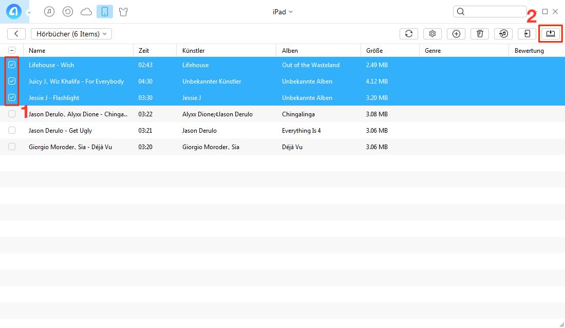Hörbücher vom iPad auf PC übertragen ohne iTunes – Schritt 2