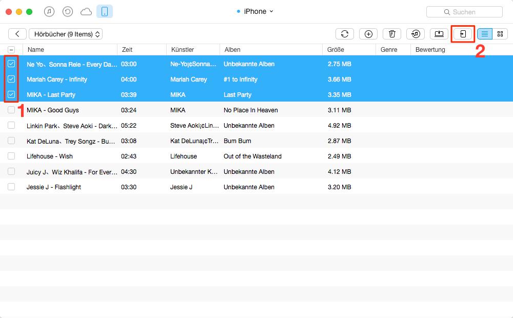 Direkt! Hörbuch vom iPhone auf iPhone übertragen – Schritt 3