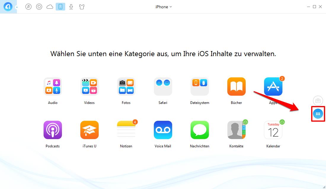 Hörbuch von iPhone auf iTunes - Schritt 1