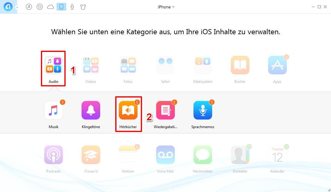 Wie kann man Hörbücher von iPhone auf iTunes laden - Schritt 2