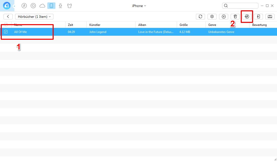 Hörbücher von iPhone auf iTunes übertragen - Schritt 3