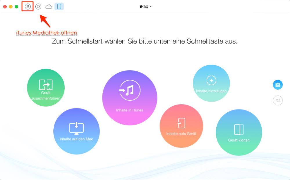 AnyTrans starten und iTunes Mediathek öffnen– Schritt 1