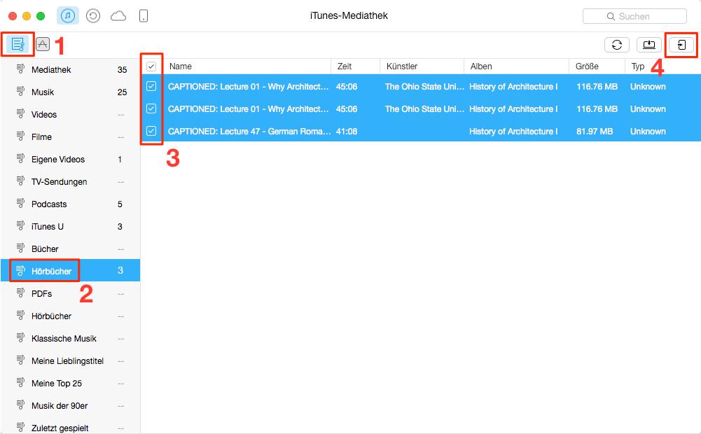 Hörbücher von iTunes auf iPad übertragen – Schritt 2