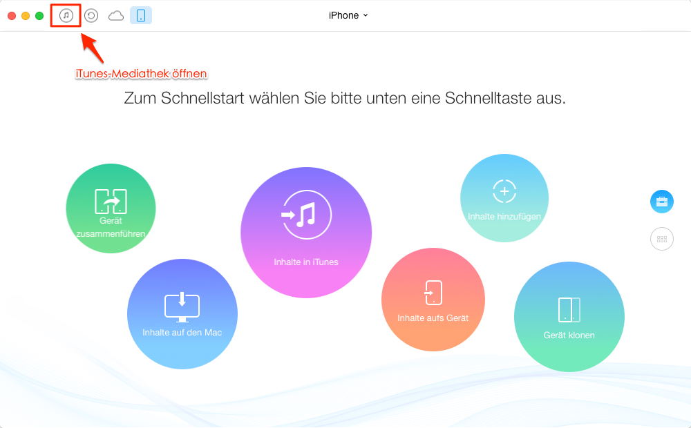 AnyTrans starten und iTunes-Mediathek öffnen – Schritt 1