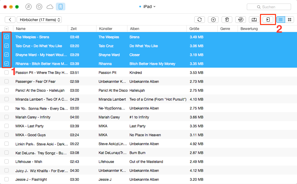 iPad Hörbücher auf anderes iPad übertragen – Schritt 3
