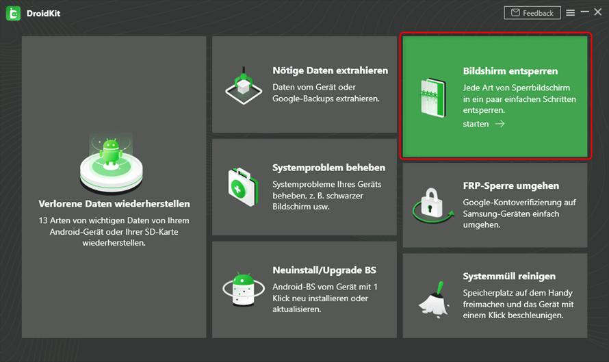 Homepage DroidKit beginnen