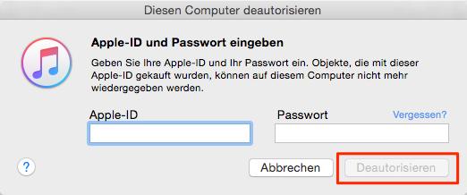 Apple Account und Passwort eingeben