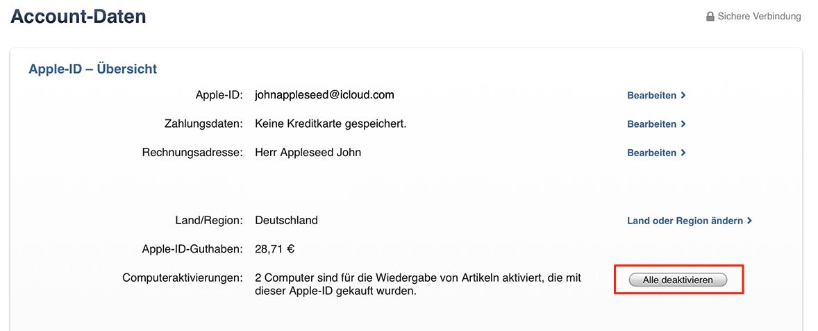 Alle Computer bei iTunes deautorisieren