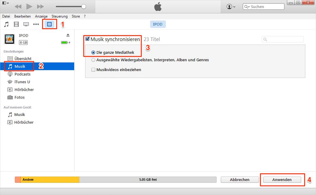 iPod Lieder löschen – über iTunes synchronisiert man iPod-Musik