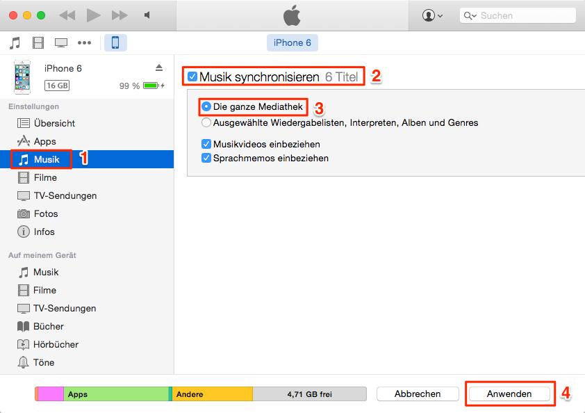 Mit iTunes ziehen Sie die Musik im iPod