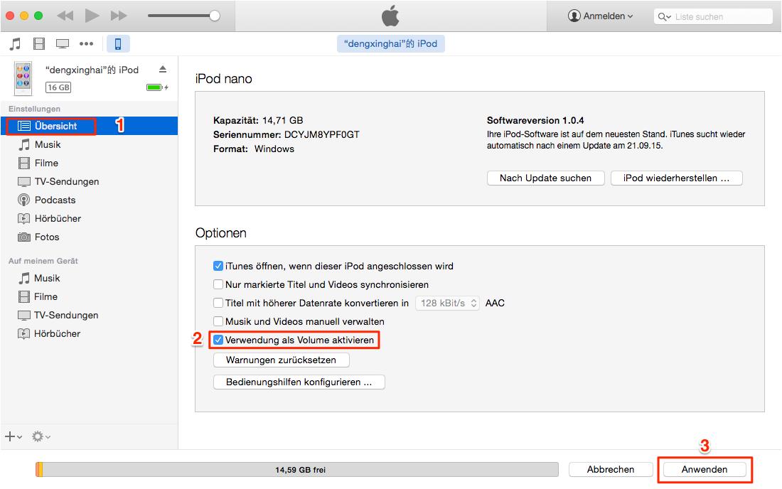 iPod als Festplatte erstellen – Schritt2