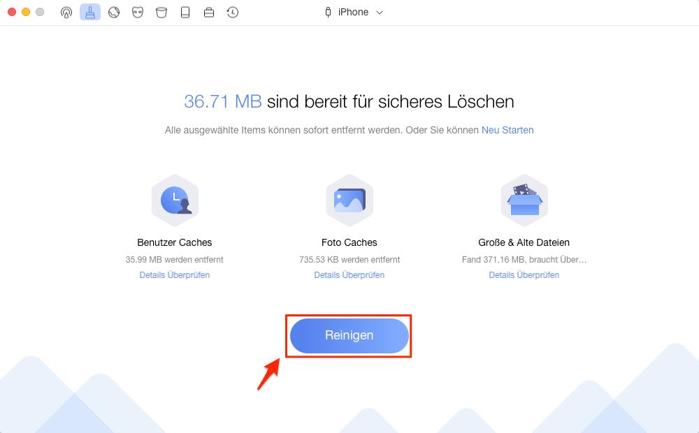 iPhone Speicher durch Löschen von Junk-Dateien bekommen – Schritt 3