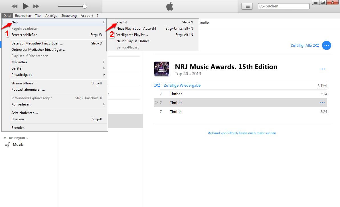 wie kann man iTunes Playlist erstellen