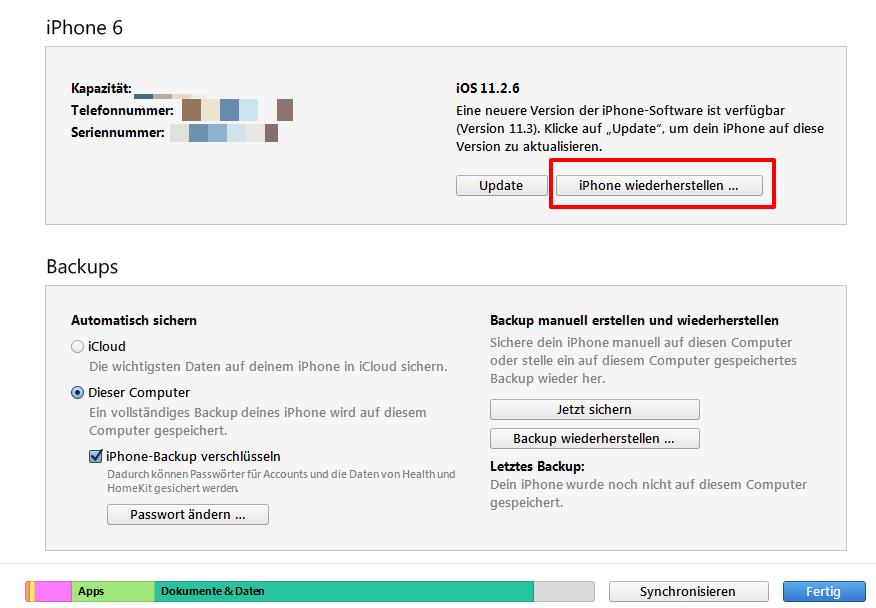 iPhone/iPad Code entfernen – über iTunes