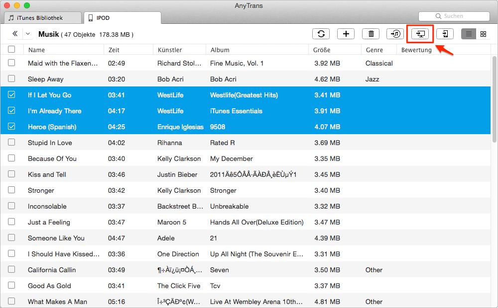 AnyTrans kann iPod Daten auf Computer übertragen - Schritt 3