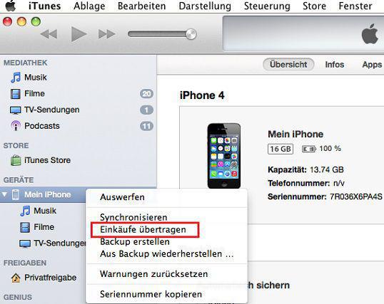 Einkäufe vom iPhone in iTunes übertragen – Schritt2